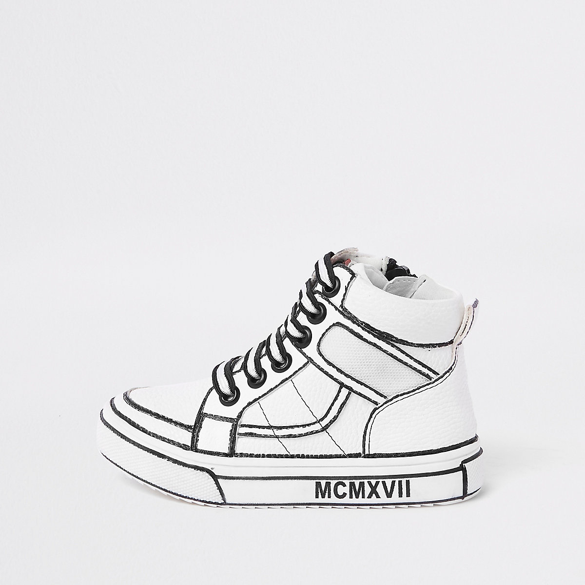 Mini boys white drawn-on high top sneakers