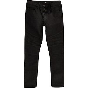 Boys black Sid coated biker jeans