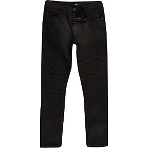 Sid – Jean noir enduit style motard pour garçon