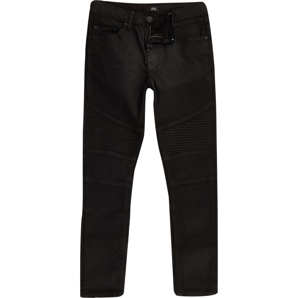 Boys black Sid coated biker jeans
