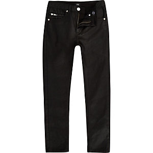 Boys black Sid skinny coated jeans