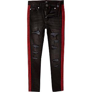 Danny - Zwarte skinny ripped jeans met bies voor jongens