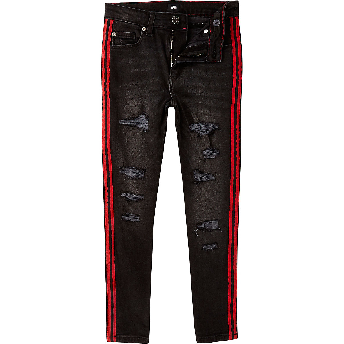 Boys black Danny skinny ripped tape jeans