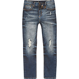 Dylan - Middenblauwe wash ripped smalle jeans voor jongens