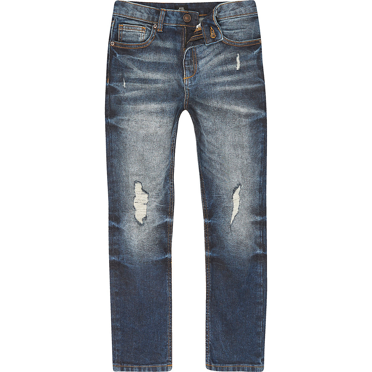 Boys mid blue wash Dylan ripped slim jeans