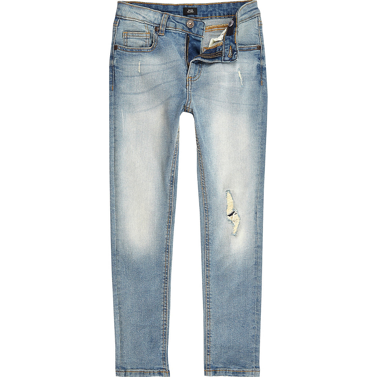 Boys light blue ripped Sid skinny jeans
