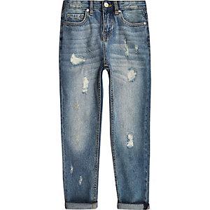 Bobby - Middenblauwe ruimvallende ripped jeans voor jongens