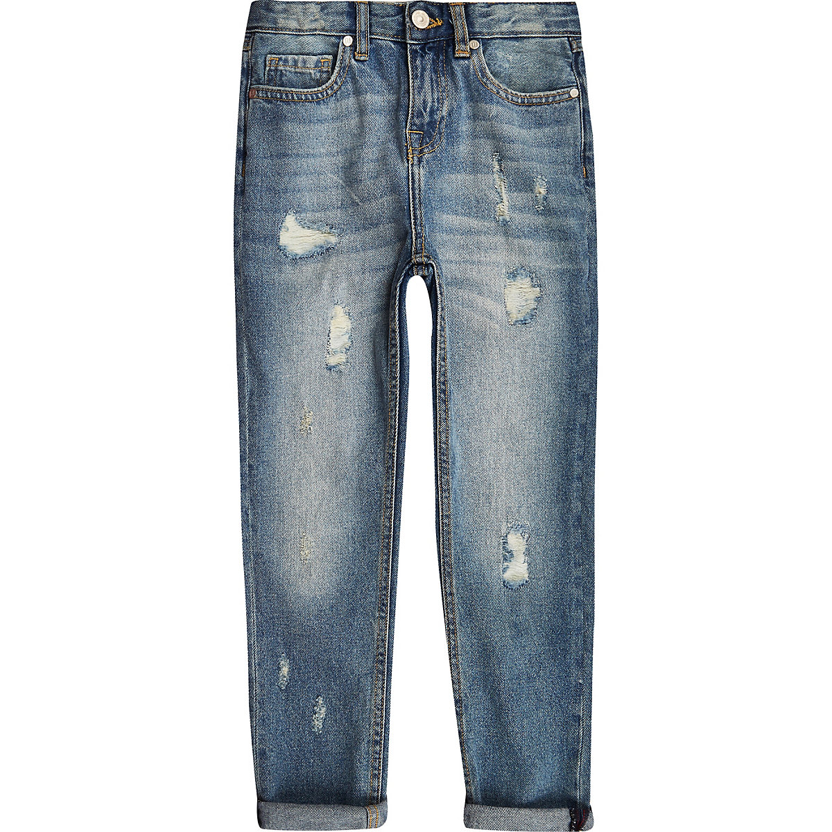 Boys mid blue loose fit Bobby ripped jeans