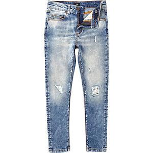 Danny – Mittelblaue Skinny Jeans im Used Look