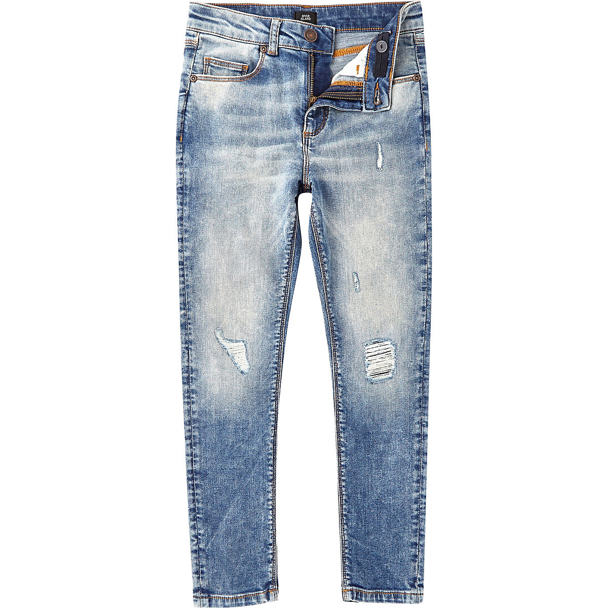 Boys mid blue wash Danny skinny ripped jeans