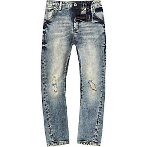 Tony - Blauwe denim wash ripped slouch-fit jeans voor jongens