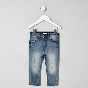 Mini - Sid - Lichtblauwe distressed jeans voor jongens