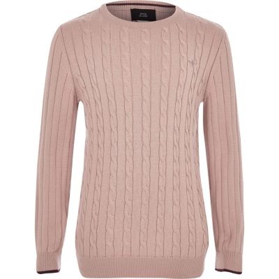 Boys Pink Cable Knit Jumper by River Island
