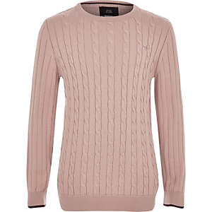 Boys pink cable knit sweater