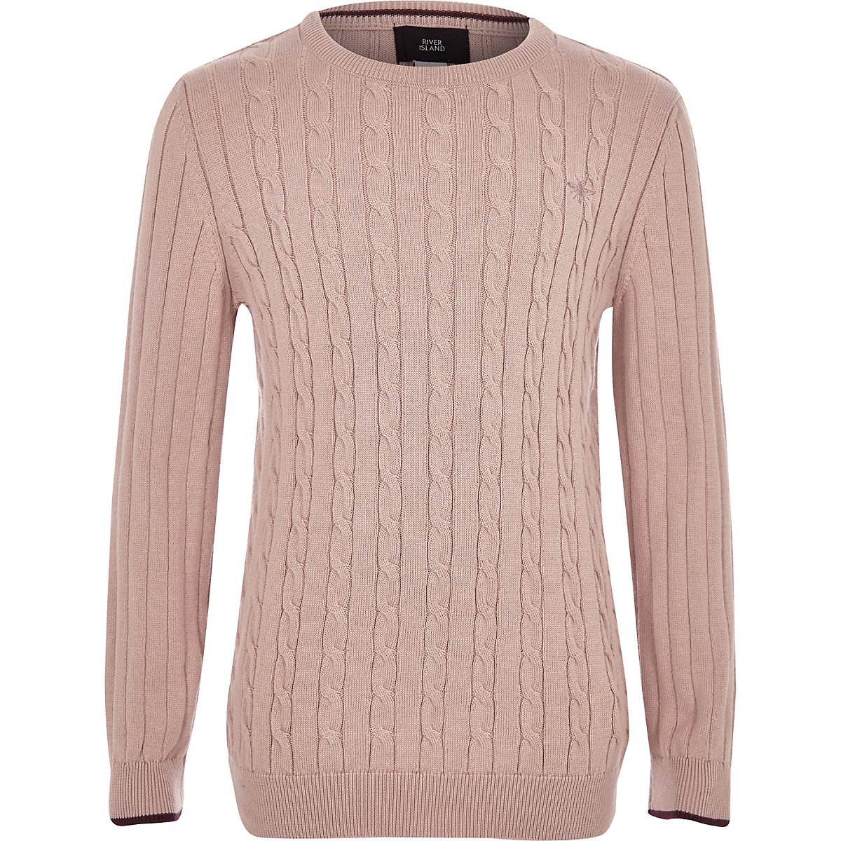 Pinker Pullover mit Zopfmuster