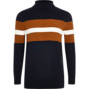 Boys navy colour block roll neck jumper