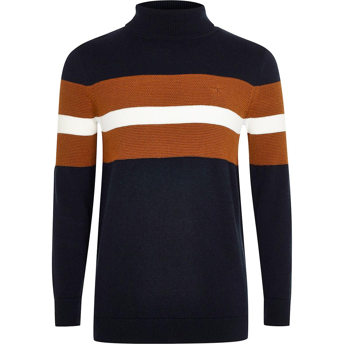 Boys navy colour block roll neck jumper
