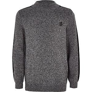 Boys grey knit high neck jumper
