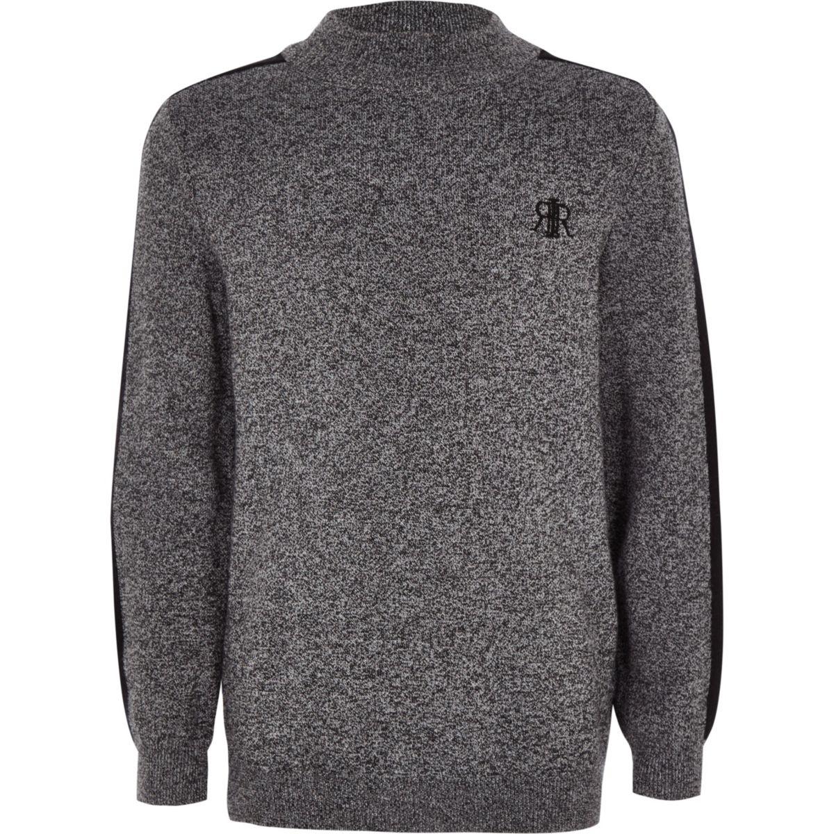 Boys grey knit high neck sweater