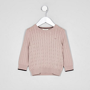 Mini boys pink cable knit sweater