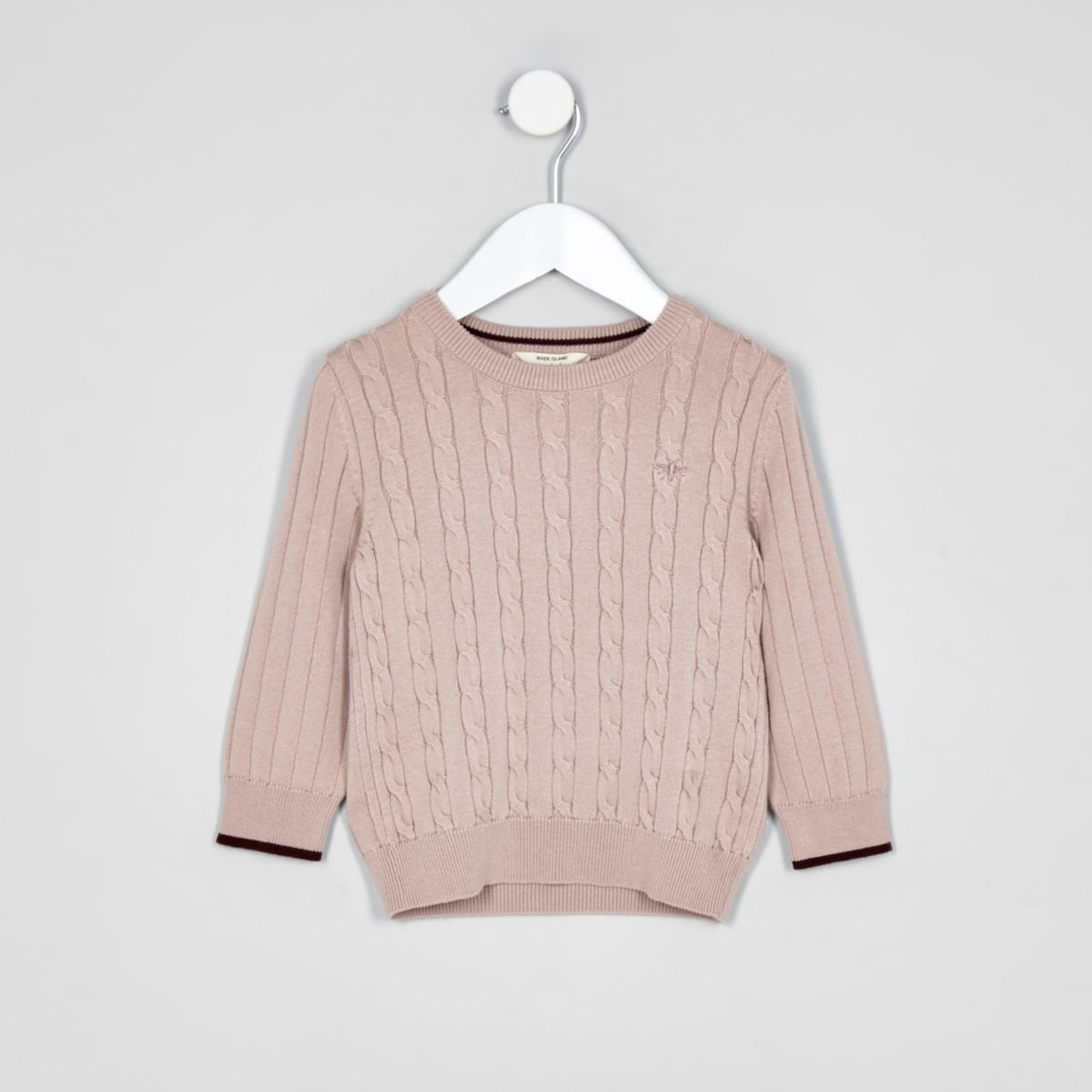 Mini boys pink cable knit jumper