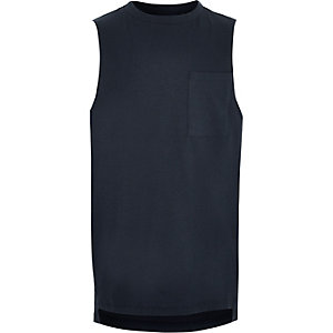 Boys navy pocket tank top