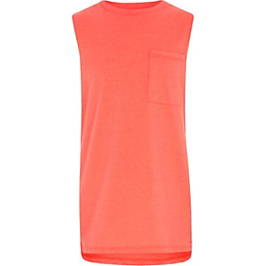 Boys coral fluro pocket tank top