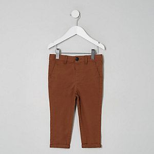 Mini boys brown slim chino trousers