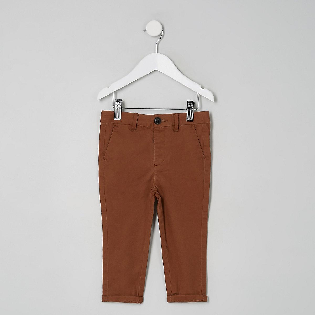Mini boys brown slim chino trousers