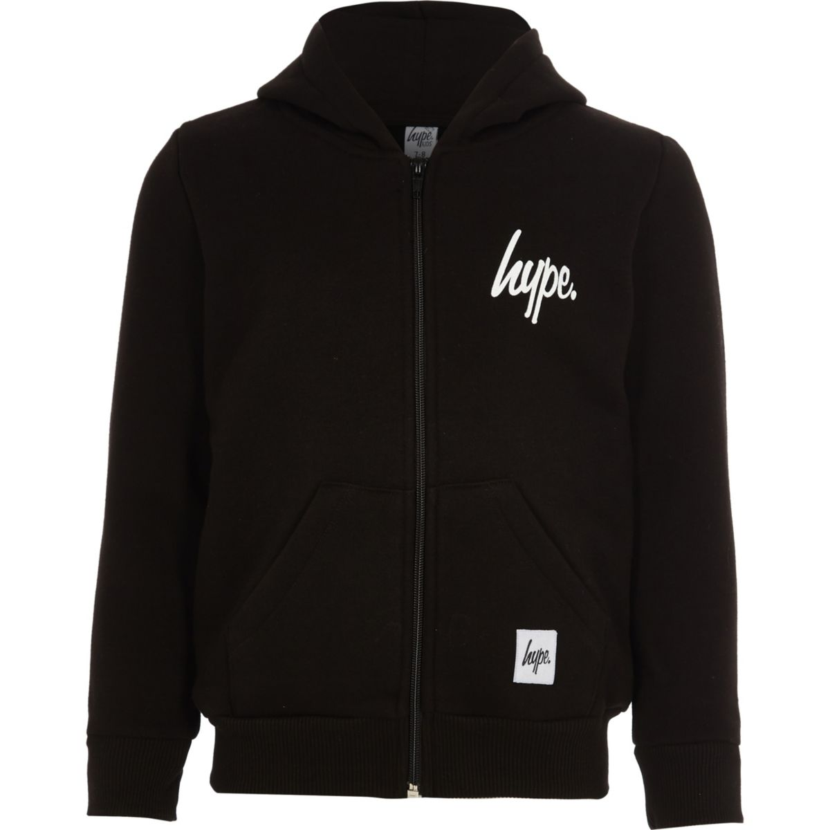 Kids Hype black zip-up hoodie