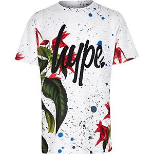 Hype – T-shirt à fleurs blanc motif peinture