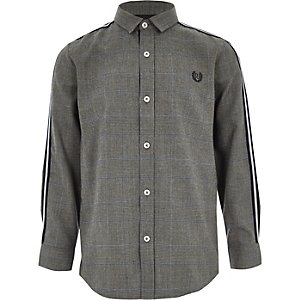 Boys grey check long sleeve tape shirt
