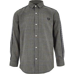 Chemise à carreaux grise à manches longues et bandes pour garçon