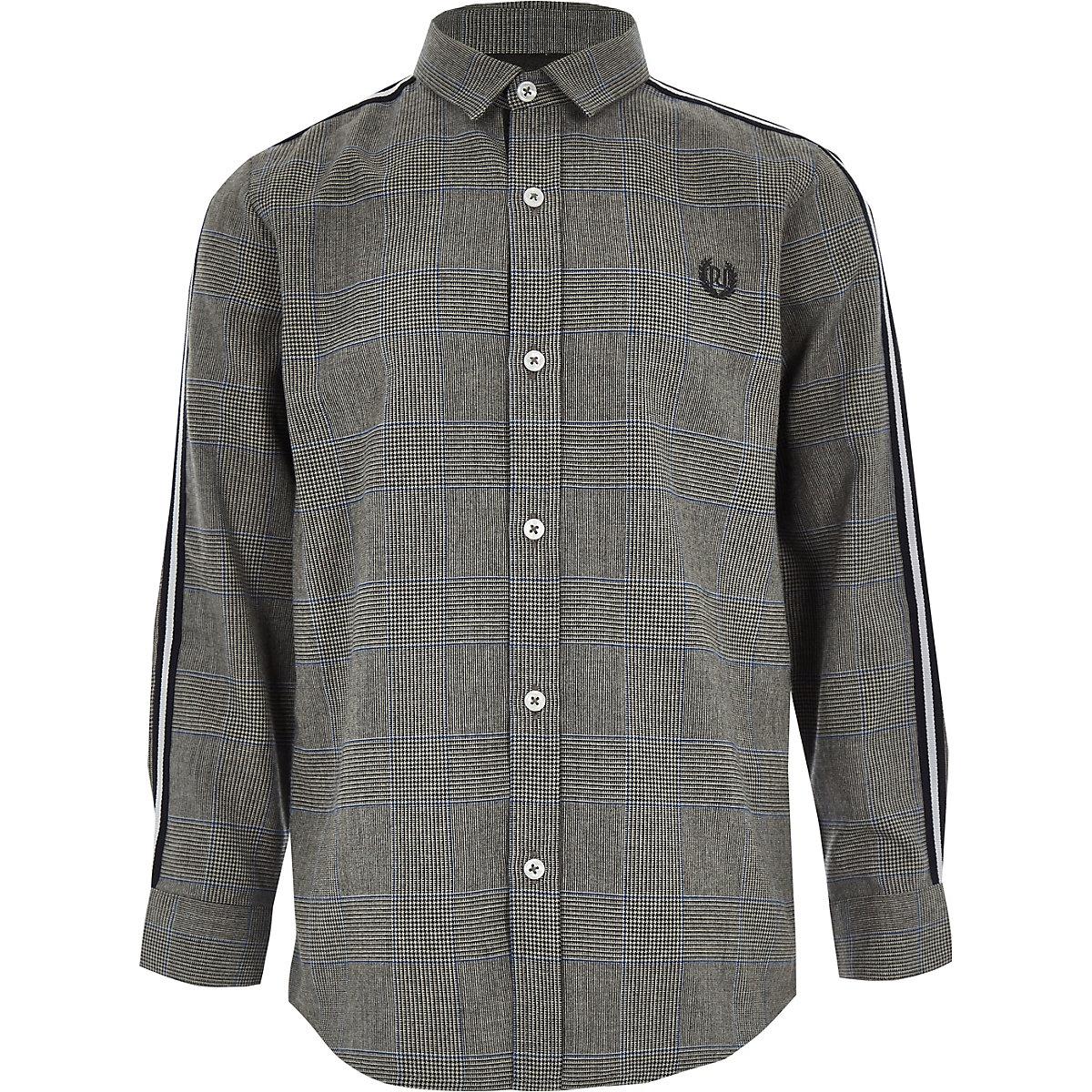Boys grey check long sleeve tape shirt