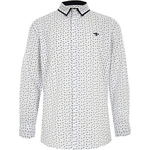 Boys white long sleeve feather print shirt