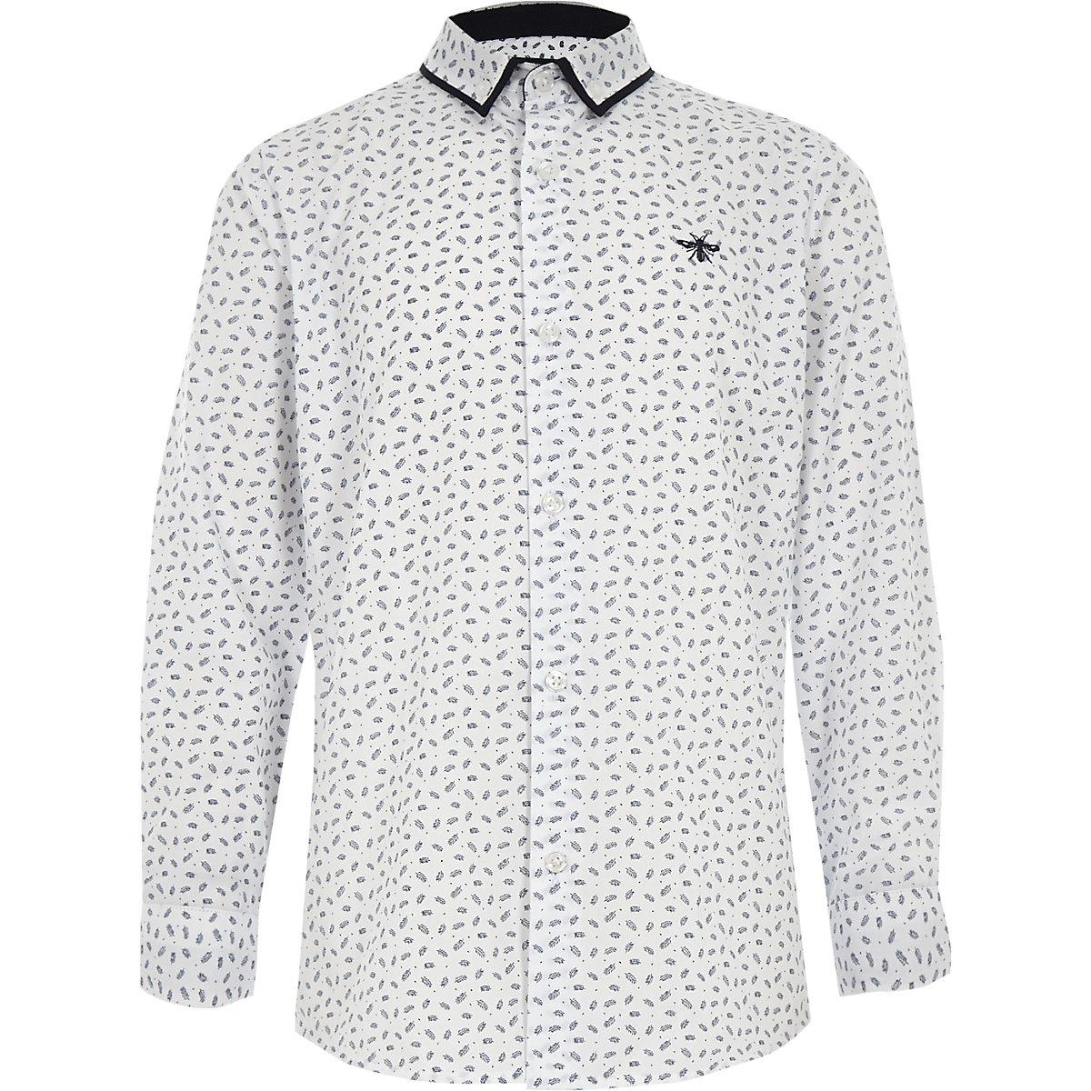 Chemise blanche manches longues à imprimé plume pour garçon