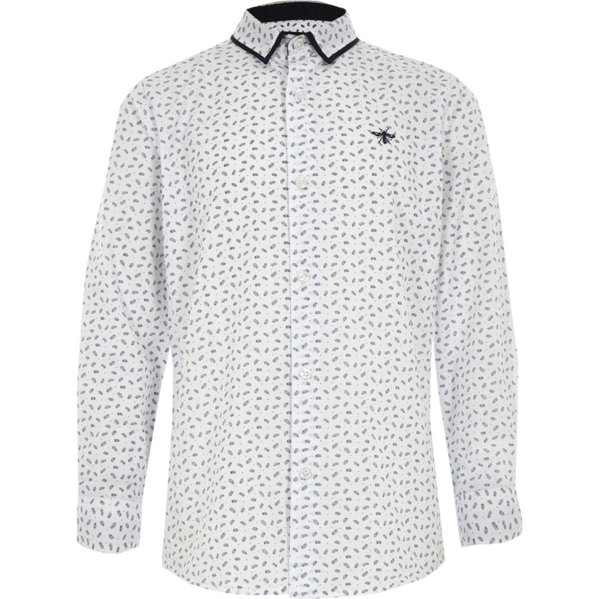 Boys white long sleeve feather print shirt