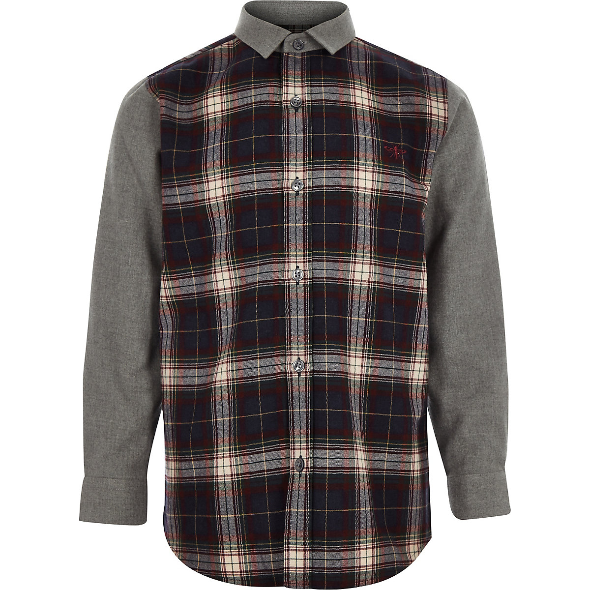 Boys navy contrast check shirt