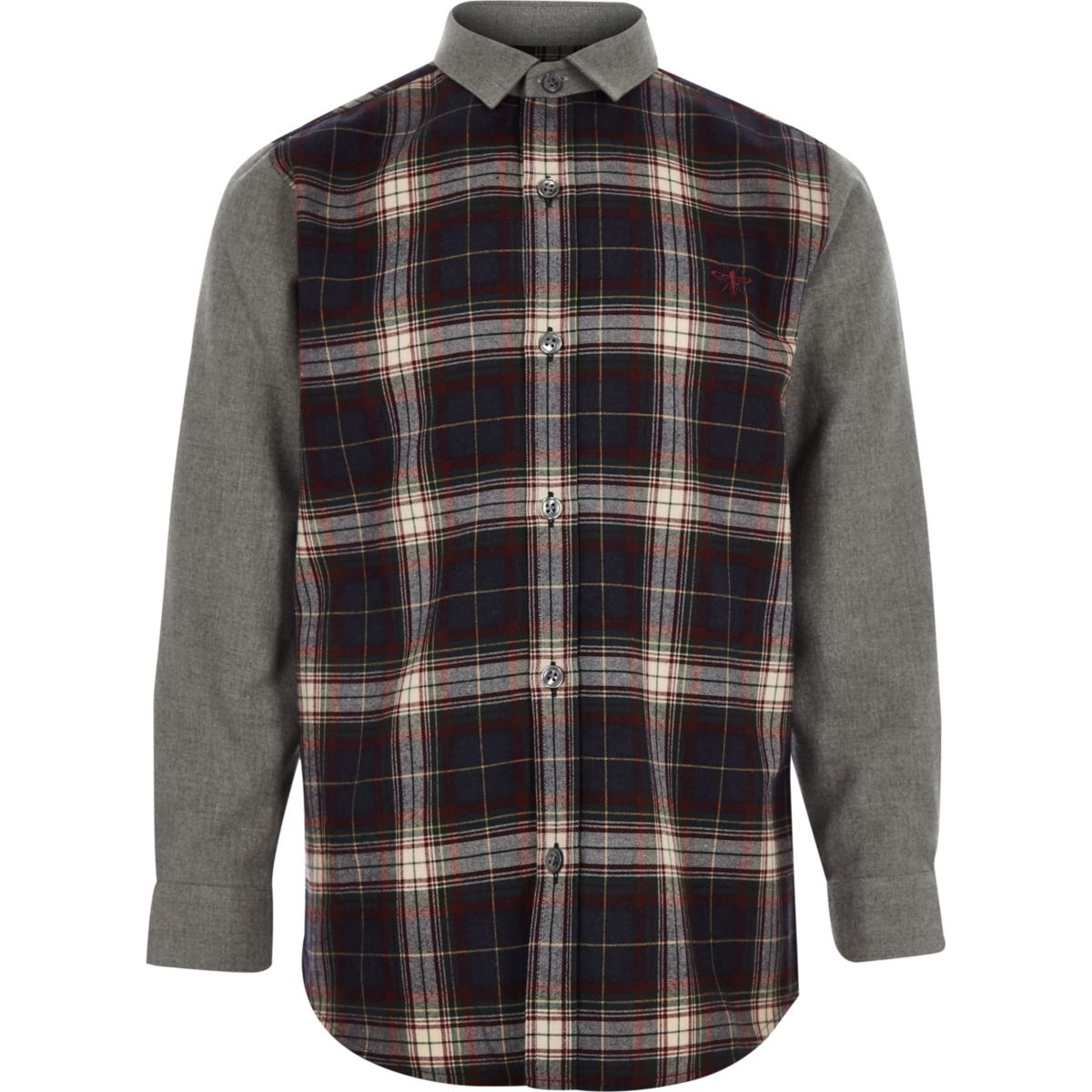 Boys navy contrast check shirt