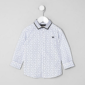 Mini boys white feather print shirt