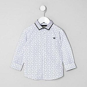Mini - Wit overhemd met verenprint voor jongens