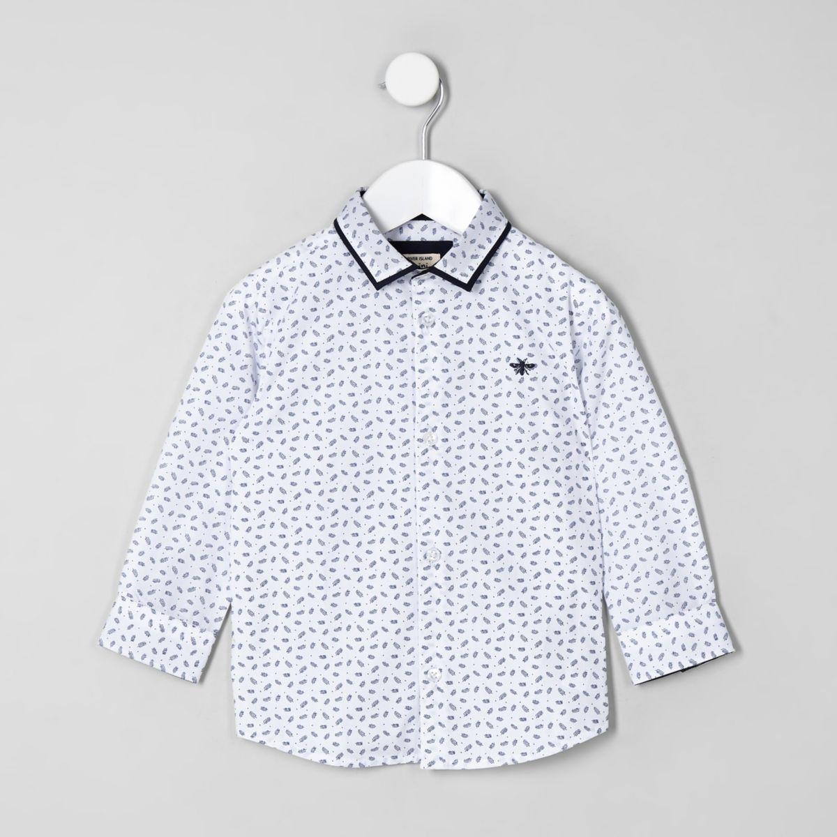 Mini boys white feather print shirt