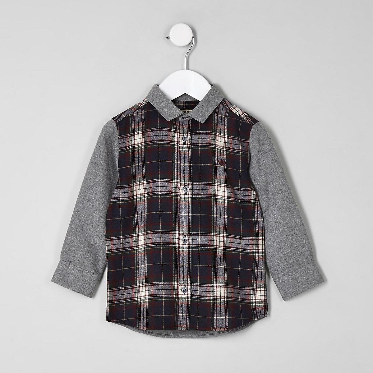 Mini boys navy contrast check shirt