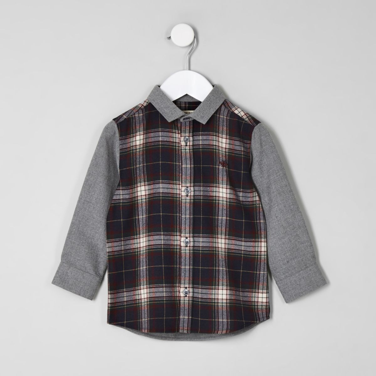 Mini boys navy contrast check shirt