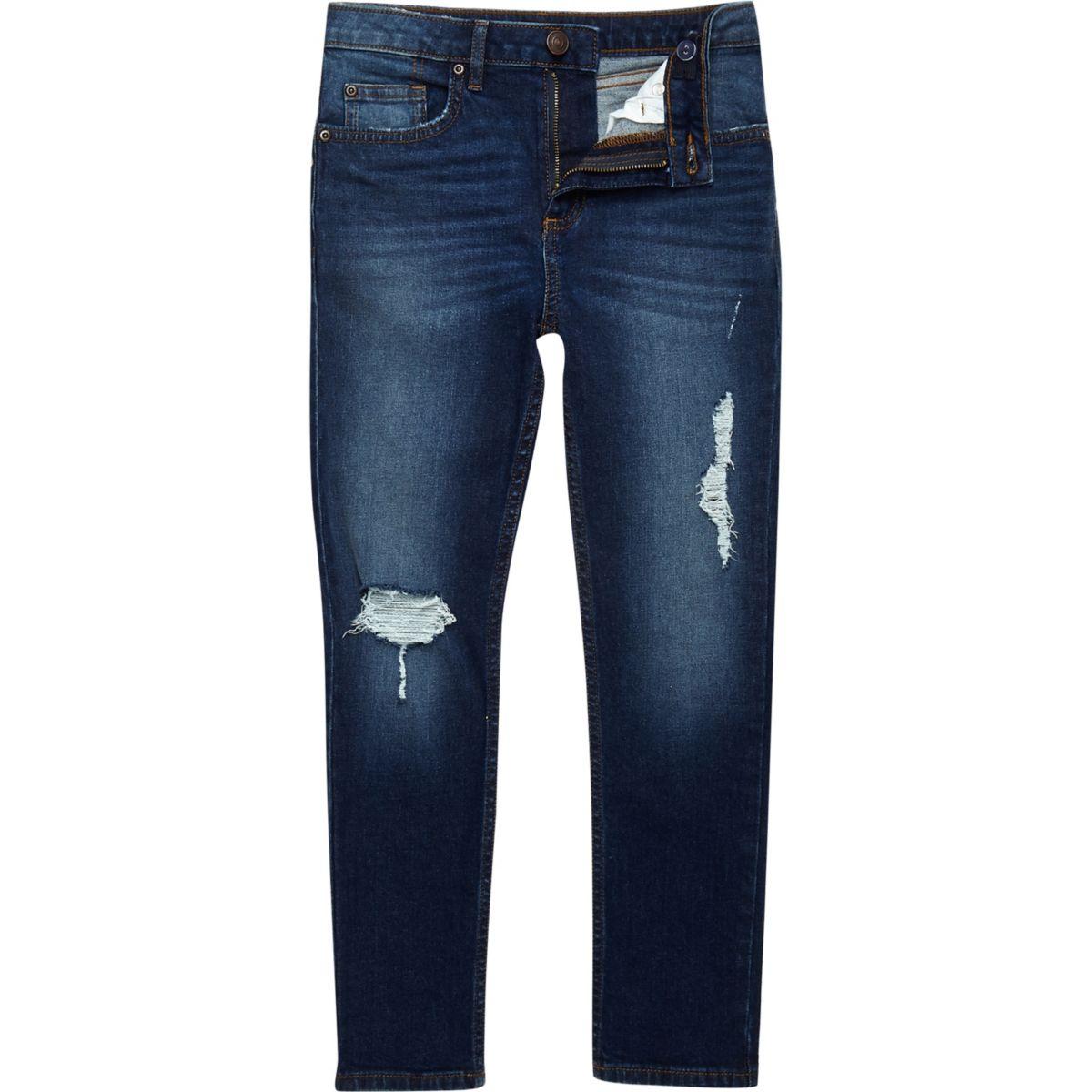 Boys dark blue ripped Sid skinny jeans