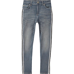 Boys mid blue Sid tape skinny jeans