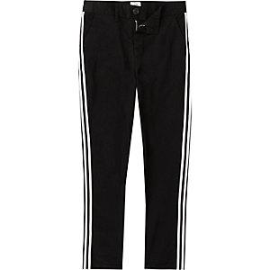 Boys black tape side skinny chino trousers