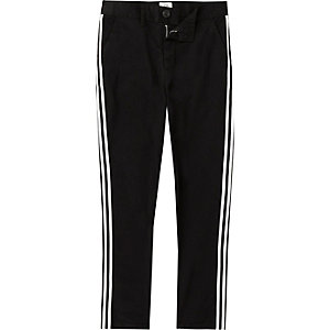 Pantalon chino skinny noir à bandes latérales pour garçon