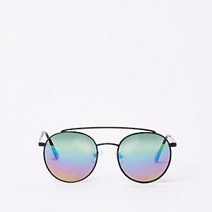 Schwarze, runde Sonnenbrille mit Gläsern in Regenbogenfarben