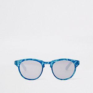 Mini - Blauwe retro zonnebril met platte bovenkant voor jongens